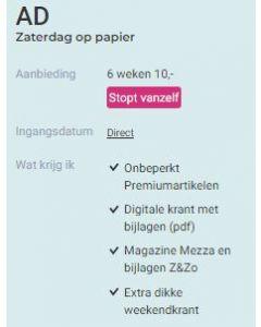Algemeen Dagblad (AD) Weekend+   6 weken 10 Euro SA