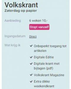 De Volkskrant Weekend+  6 weken - 10 Euro SA
